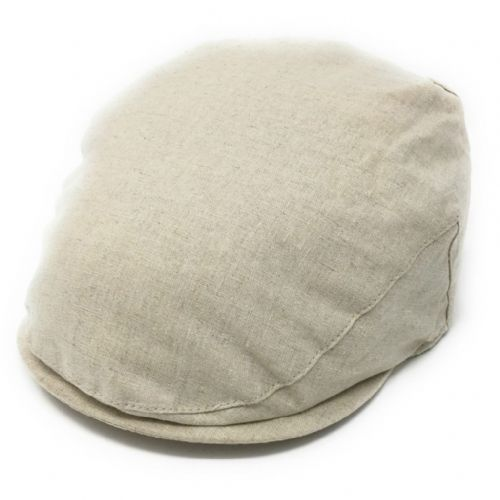 Linen Flat Cap - Fully Lined - Stone